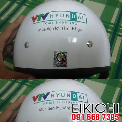 Mẫu nón bảo hiểm quảng cáo VTV Huyndai làm quà tặng ở TPHCM xưởng sản xuất EiKiChi