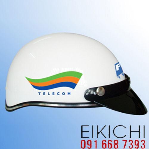 Mẫu nón bảo hiểm quảng cáo Telecom làm quà tặng ở TPHCM xưởng sản xuất Eikichi
