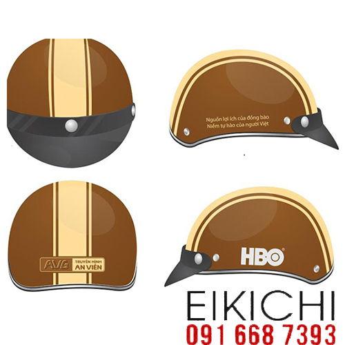 Mẫu nón bảo hiểm quảng cáo Truyền Hình An Viên làm quà tặng ở TPHCM xưởng sản xuất Eikichi