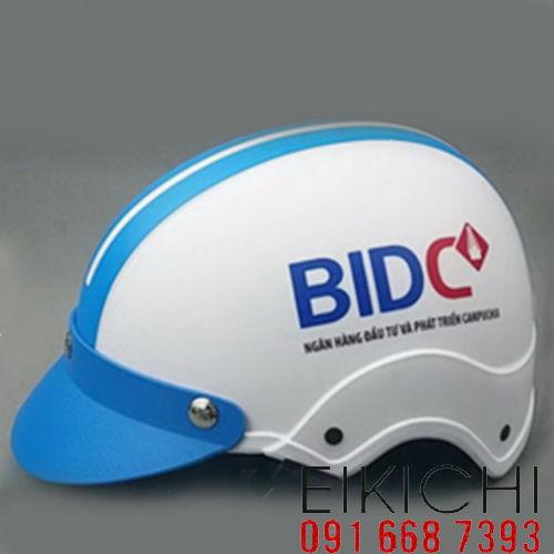 Mẫu nón bảo hiểm quảng cáo BIDC làm quà tặng ở TPHCM xưởng sản xuất Eikichi